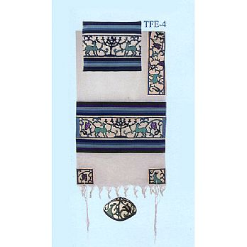 Emanuel All Embroidered Tallit Set - Paper cut Menorah