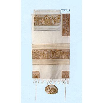 Emanuel All Embroidered Tallit Set - Jerusalem in Gold