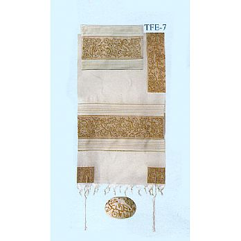 Emanuel All Embroidered Tallit Set - Matriarchs in Gold