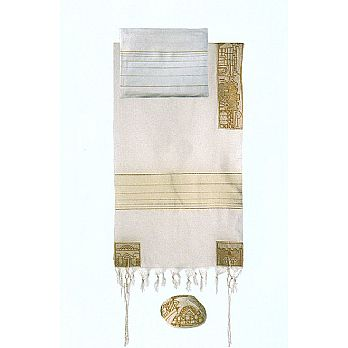 Emanuel Embroidered Tallit Set - Jerusalem in Gold