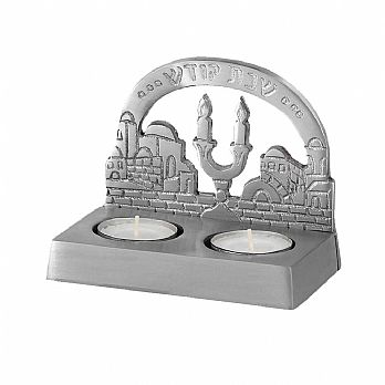 Shabbat  Twin Tea Light Candle Holder - Jerusalem