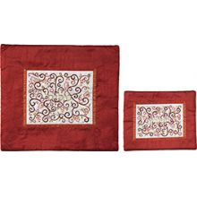 Raw Silk Tallit & Tefillin Set by Emanuel - Maroon