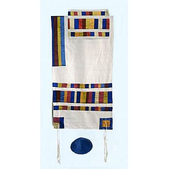 Elegant Raw SilkTallit Set - Multi Color Stripes