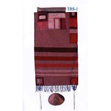 Emanuel Raw Silk Applique'd Tallit Set - Maroon on Maroon
