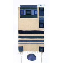 Emanuel Raw Silk Applique'd Tallit Set - Blue