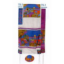 Emanuel Painted Silk Tallit Set - Jerusalem Gate in Color