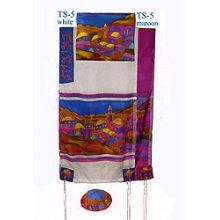 Emanuel Painted Silk Tallit Set - Jerusalem Vista in Color