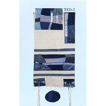 Emanuel Raw Silk Applique'd Tallit Set - Abstract Blue