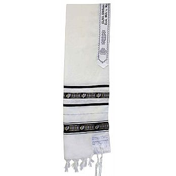 Wool Tallit with Star of David Ribbon - Black/Silver