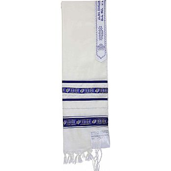 Traditional Wool Tallit - Blue/Silver