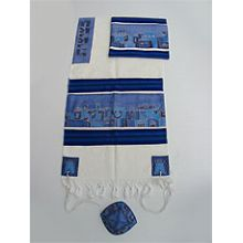 Emanuel Silk & Cotton Tallit Set - Jerusalem Homes in Blue