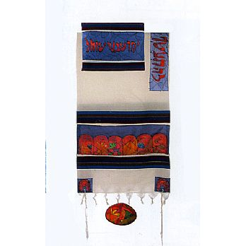 Emanuel Silk & Cotton Tallit Set - The 12 Tribes in Multi-Color