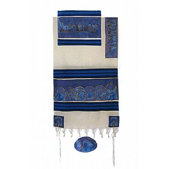 Emanuel Silk & Cotton Tallit Set - The 12 Tribes in Multi-Blue