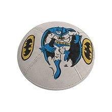 Batman Kippah Hand Painted on Suede