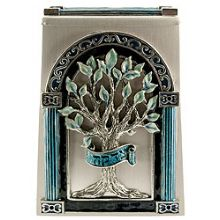 Exquisite Tree-of-Life Tzedakah Box - Teal / Silver
