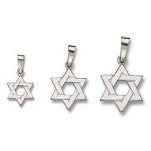 14K White Gold Star Pendant - Braided