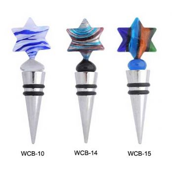 Fused Glass and Stainless Steel Wine Stoppers