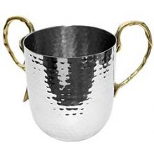 Stainless Steel Hammered Wash Cup With Gold Handles