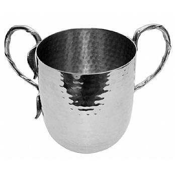 Stainless Steel Hammered Wash Cup With Silver Handles