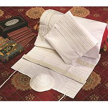 Soft Cotton Luxurious Tallit Set - Classic White & Beige Stripes