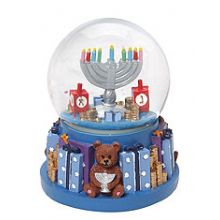 Hanukkah Water Globe With Music and Glitter - Menorah