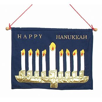 Fabric Hanging Menorah - Removable Flames