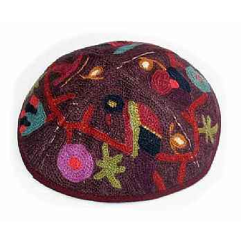 Hand Embroidered Kippot - Birds in Color