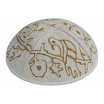 Hand Embroidered Kippot - Birds in gold