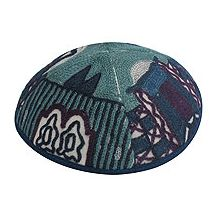 Hand Embroidered Kippot - Jerusalem Blue