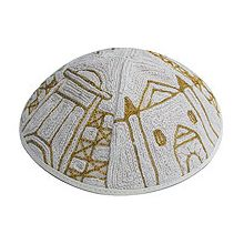 Hand Embroidered Kippot - Jerusalem of Gold