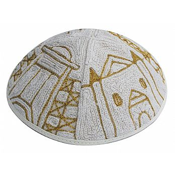 Luxurious Hand Embroidered Kippah - Jerusalem of Gold