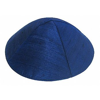 Raw Silk Kippah by Yair Emanuel - Navy Blue