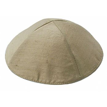 Raw Silk Kippah by Emanuel -Satin Gold