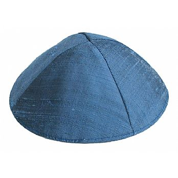 Rich Raw Silk Kippah by Emanuel - Royal Blue
