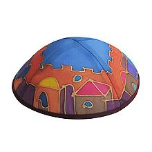 Hand Painted Kippot - Jerusalem