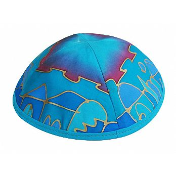 Hand Painted Silk Kippah by Emanuel - Teal Jerusalem