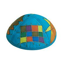 Hand Painted Kippot - Tribes on Turquoise
