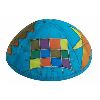 Hand Painted Silk Kippah by Emanuel - Choshen Blue