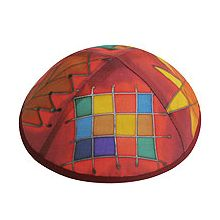 Hand Painted Kippot - Tribes on Red/Orange/Maroon