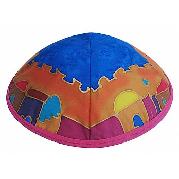Hand Painted Silk Kippah - Jerusalem Multi Color