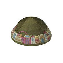 Machine Embroidered Kippot - Jerusalem on Green/Gold