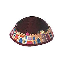 Machine Embroidered Kippot - Jerusalem on Wine/Maroon