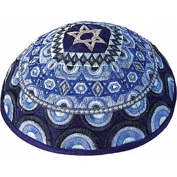 Machine Embroidered Kippah by Yair Emanuel - Multi Blue
