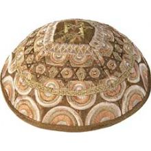 Machine Embroidered Kippah by Yair Emanuel - Multi Gold
