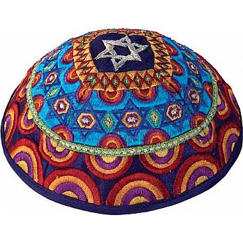 Machine Embroidered Kippah by Yair Emanuel - Multi Color