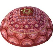 Machine Embroidered Kippah by Yair Emanuel - Pink Color