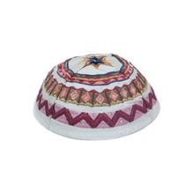 Machine Embroidered Kippot - White