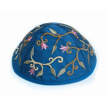 Machine Embroidered Kippot - Blue