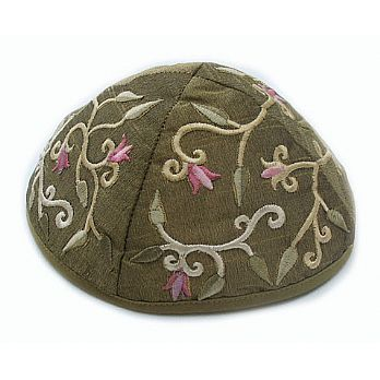 Machine Embroidered Kippot - Green/Gold