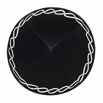 Black Velvet Kippah with an Embroidered Design